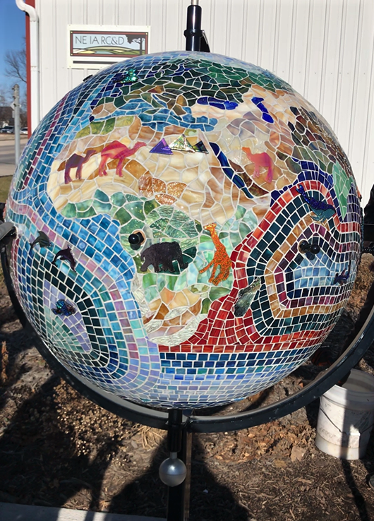 'Hometown to the World' Globe Sculpture